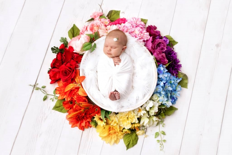Emily Robin Photography. Wyoming Newborn photography. Montana newborn photography. Fine art newborn portraiture. Premier Newborn Photography. Floral rainbow baby.